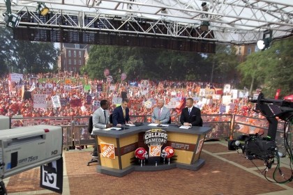 8/31/13 10:02:40 AM -- Clemson, SC, U.S.A  -- We follow ESPN's College Game Day as they make a stop at Clemson for their game against Georgia. --  On-air personalities (from left to right) Desmond Howard, Chris Fowler, Lee Corso, and Kirk Herbstriet on the set of ESPN's College Game Day at Clemson University.  Photo by USA TODAY  Sports Images, Gannett ORG XMIT:  US 130045 College Game Day 8/30 [Via MerlinFTP Drop] ORG XMIT: V1P-1308311520267475 (Via OlyDrop)
